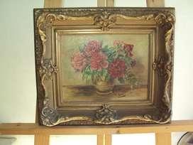 antiguo cuadro madera oleo en lienzo