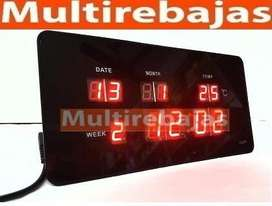 Reloj Led Digital 48cm Fecha Termómetro Despertador 60 Visi