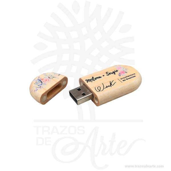 USB en madera 16 GB personalizada – Precio COP