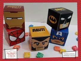 Cajas J1 Golosinas Heroes Lego Batman Mujer Maravilla Hombre Araña cumpleaños Evento superman