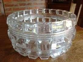 antiguo centro de mesa - frutera de cristal tallado