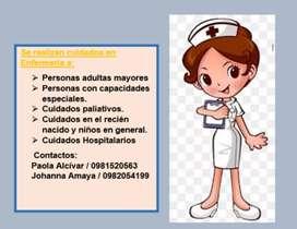 Cuidados de personas adultas, capacidades especiales, niños