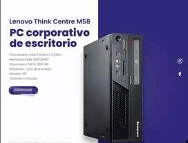 Equipo de mesa corporativa procesador intel pentiun ram 2gb disco sata 250 gb monitor 19 teclado y mouse licenciada