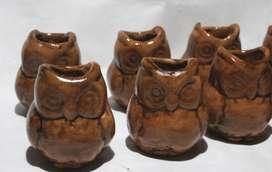 8 macetas con forma de búho, de 7 cm de altura