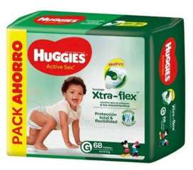Pack Pañales Huggies Active Sec Xtra Flex G 68 unid.1000
