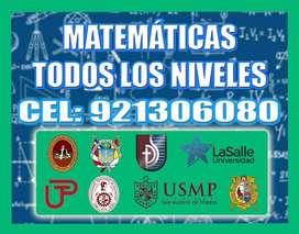CLASES PARTICULARES DE MATEMÁTICA , RAZONAMIENTO y FÍSICA TODO NIVEL