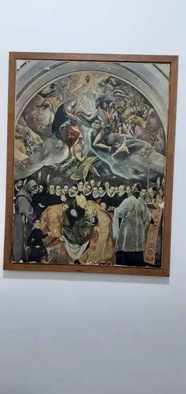 Cuadro religioso antiguo sobre lienzo