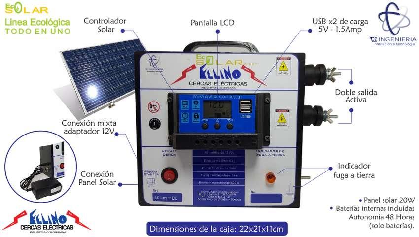 Cerca electrica Autónoma Solar 60km USBx2, Mixta, doble salida, LCD 0