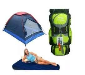 Combo Carpa Camping 4 Per + Colchon+ Bomba + Morral