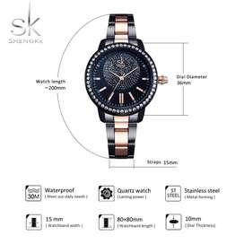 Reloj mujer shengke cuarzo pulso negro just Watch