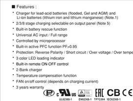 Cargador de baterías 24 VDC 37 AMP