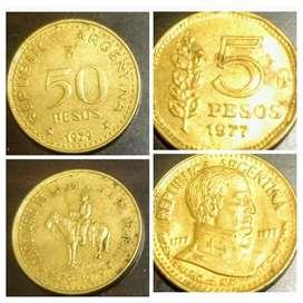 Peso Ley 18188. 2 Monedas conmemorativas: $5 de 1977 y $50 de 1979