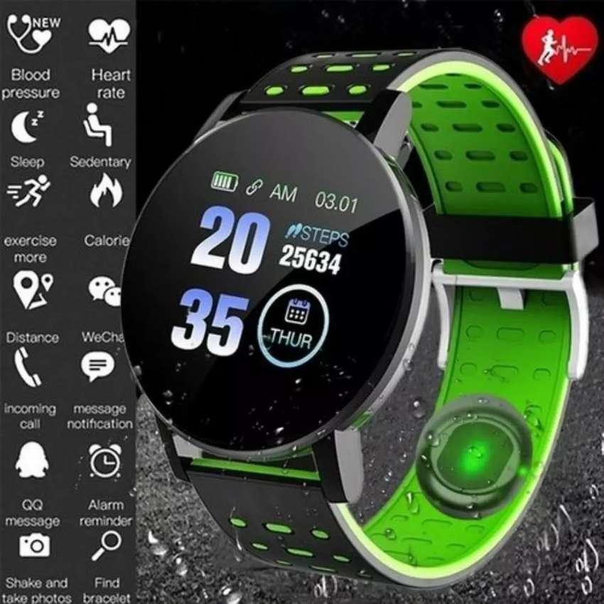 119 Plus Smart Watch reloj inteligente rastreador de ejercicios, ritmo cardíaco deportes regalo hombre mujer niño IPhone 0