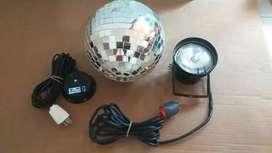 Esfera espejada Spot de luz y motor giratorio