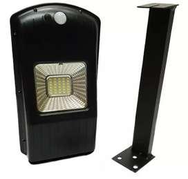 Lampara solar con panel 100% solar sensor de movimientos y soporte 30w de potencia