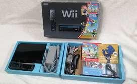 Nintendo Wii Negro En Caja + Juego Super Mario Bros + Musica