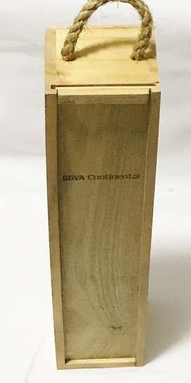 Porta Vino De Madera 34alto X 8.5largo X 8grosor Cm