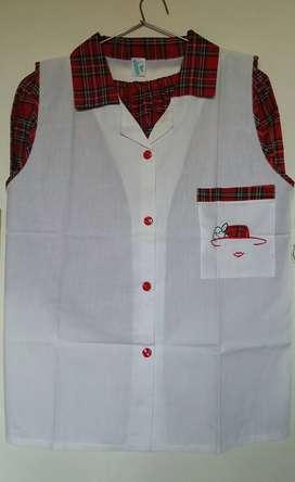 Pijama Camison Mujer 2 Piezas Botones Blanco Rojo