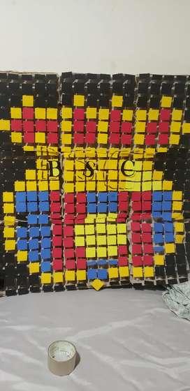 Mural hecho a mano de barcelona sc