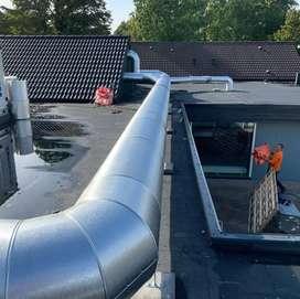 Fabricación e instalación de ductos, campanas extractoras, etc.