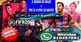PROMOCIONES JUEGOS PS3 PES 21,FIFA 20