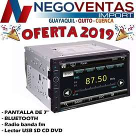 RADIO PANTALLA DOBLE DIN CD DVD BLUETOOTH USB SD AUX PARA CARROS