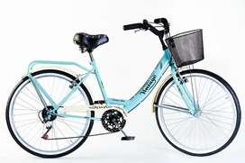 Bicicleta Vintage Dama Con Cambios Rodado 26