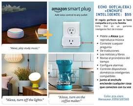 PROMOCION: 2x1 Parlante echo (amazon) + enchufe inteligente para cualquier electrodomestico que quieras encender con voz