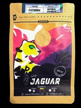 Jaguar Coffee Exótico, Tostado Molino o Grano-  250 Grs, Red Honey / Natural Yellow . 100% Colombia