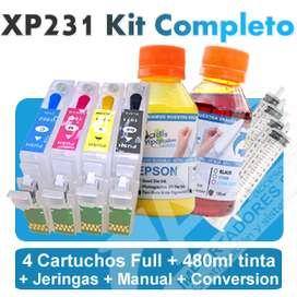 Cartuchos Recargables Epson Xp231 Conversión Y 480ml Tinta