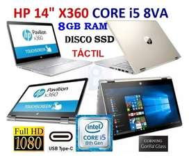 HP pavilion x360 core i5 8va gen 8CPUs, IPS Full HD tactil giratorio.