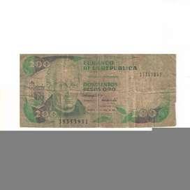 Billete De 200 Pesos Oro De Colombia Con Envio Gratuito