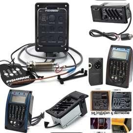 Se instalan micrófonos y amplificadores para guitarras acústicas y electroacusticas  a domicilio con garantía