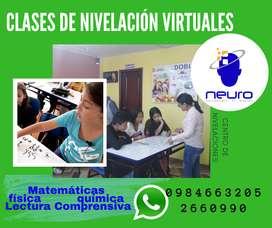 clases virtuales de nivelación MATEMÁTICAS-FÍSICA-QUÍMICA
