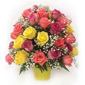 Arreglo Floral con rosas verano