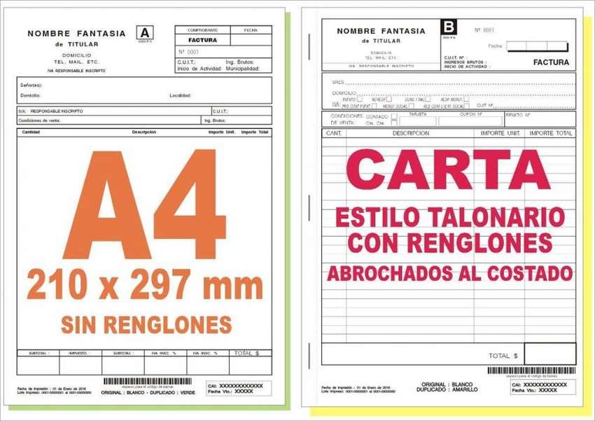 5 Talonarios 50 Num. X2 A4 Carta Factura Rec. Rem. Abc 0