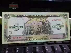 Billete de 5 colones 1990