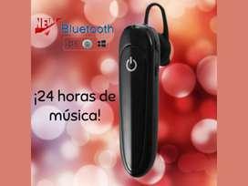 AUDIFONO BLUETOOTH RECARGABLE PARA 24 HORAS DE MÚSICA CONTÍNUAS