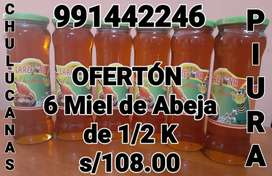 6 Frascos Miel de Abeja 1/2k 100% Natural Puro Floración de  Mango