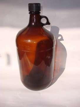 Botellón vidrio 4,3 litros color Ámbar Caramelo, Nuevo, Sin uso, Boca ancha