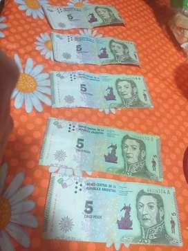 Vendo billetes de 5 pesos