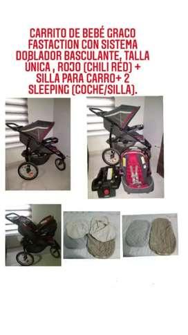 Coche de bebé Graco FastAction 3 ruedas+ silla para carro+ 2 sleeping