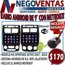 RADIO ANDROID DE 9¨ CON METROKIT + CAMARA DE RETRO GRATIS EN DESCUENTO EXCLUSIVO DE NEGOVENTAS