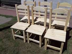 Seis sillas nuevas madera reforzadas muy