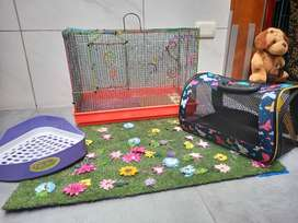 Kit para conejo o hámster (jaula reforzada, porta conejo, esquinero)