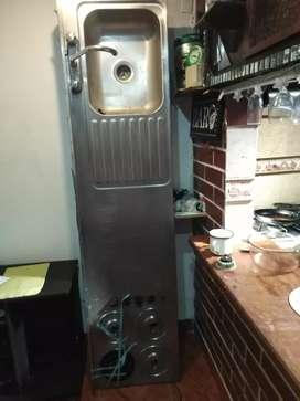 Lavaplatos de acero inoxidable con estufa, mezclador y estregador !!