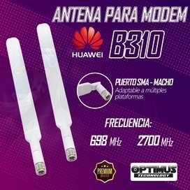 2 Antenas 4g Modem Enrutador Huawei B310 Entrada Sma Macho adaptable a múltiples modems routers 5 dB de ganancia