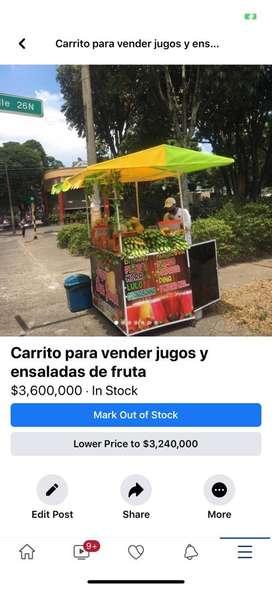 Carro para vender jugos y ensalada de frutas