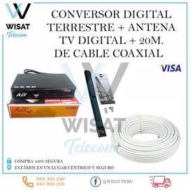 Conversor Digital Terrestre +Antena TV Digital + 20 Metros de cable coaxial.