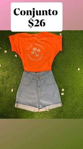 Venta de shorts, crop top
